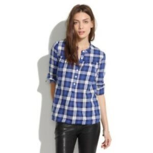 Madewell Plaid Button Front Blouse